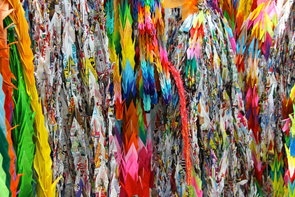 Japanese people fold 1000 paper cranes in hopes of being granted one great wish. People continue to send their 1000 cranes to the Children's memorial site today.